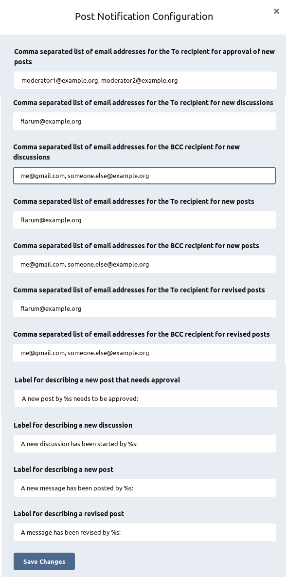 Post Notification Configuration