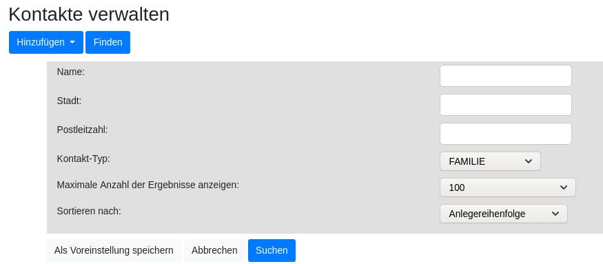 Filter für Kontakte Verwalten